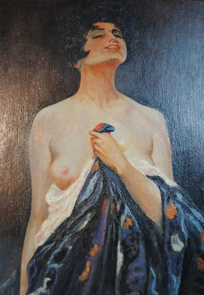 E Jorger Nude with a Silk Robe