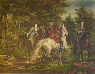 E M Rich ANTIQUE REVOLUTIONARY GENTLEMEN WITH HORSES OIL PAINTING