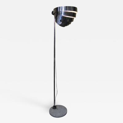 E R Nele Chrome Visor Floor Lamp with Marble Base