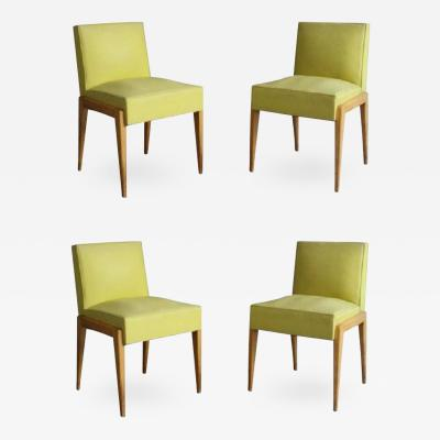 E Verot et R Clement Set of Four French 1950s Sycamore Chairs by Verot et Clement