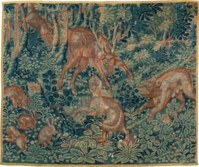 EARLY 17TH CENTURY FLEMISH HUNT TAPESTRY FRAGMENT