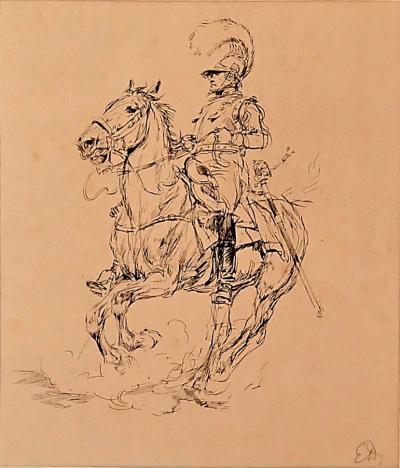 EDOUARD DETAILLE Gorgeous Drawing Of A Cuirrassier On A Prancing Horse By Edouard Detaille