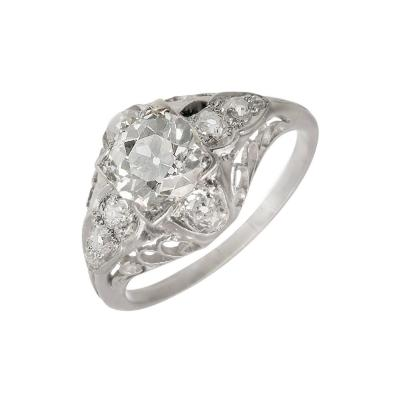 EGL Certified 1 40 Carat Victorian Diamond Filigree Platinum Engagement Ring