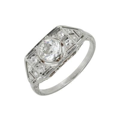 EGL Certified 53 Carat Art Deco Diamond White Gold Engagement Ring