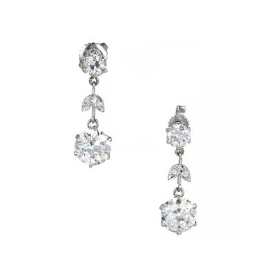 EGL Certified Diamond Edwardian Old European Cut Platinum Dangle Earrings