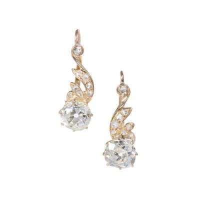 EGL Certified Old Mine Cut Diamond Rose Gold Dangle Earrings
