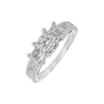 EGL Certified Three Stone Diamond Gold Engagement Ring