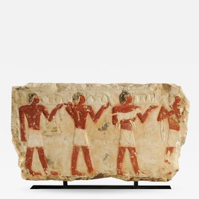 EGYPTIAN LARGE LATE OLD KINGDOM POLYCHROME LIMESTONE RELIEF