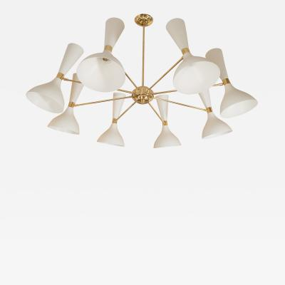 EIGHT ARM BRASS CHANDELIER WITH SPOTLIGHT SHADES