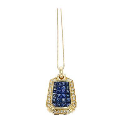 ELONGATED HEXAGONAL MYSTERY SET SAPPHIRE DIAMOND PENDANT NECKLACE 18K YEL GOLD