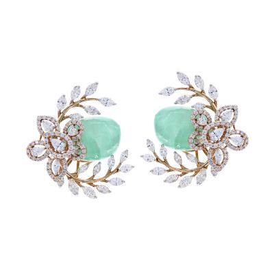 EMERALD AND DIAMOND FLORAL AND LEAF EARRINGS 18K GOLD