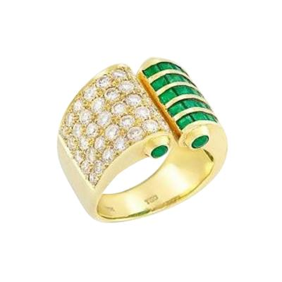 EMERALD AND DIAMOND OPEN RING 18K YELLOW GOLD