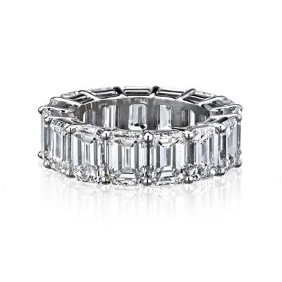 EMERALD CUT PLATINUM 15 53 CARATS DIAMOND ETERNITY BAND