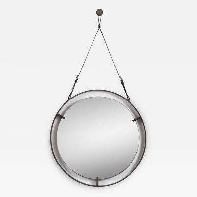 EMMERSON CIRCULAR METAL AND LEATHER MIRROR