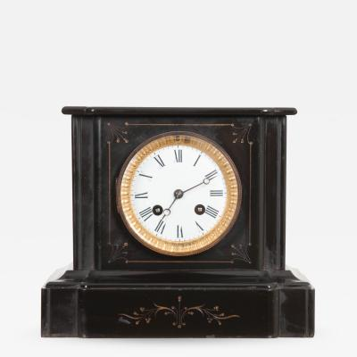 ENGLISH 19TH CENTURY AESTHETIC MOVEMENT BLACK MARBLE MANTEL CLOCK