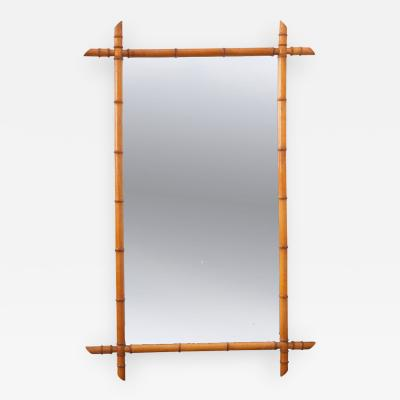 ENGLISH 19TH CENTURY FAUX BAMBOO PINE MIRROR
