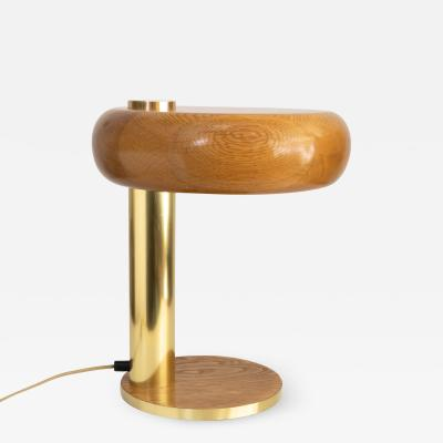EUROPEAN MID CENTURY OAK AND BRASS DESK LAMP