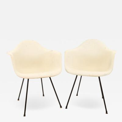 Eames for Herman Miller Mid Century Molded Plastic X Base Shell Chairs Pair