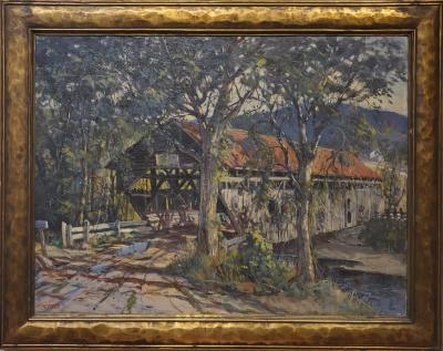 Earl A Titus Landscape Painting of a Covered Bridge signed by Earl A Titus dated 1937