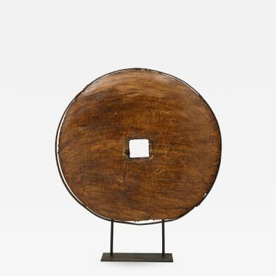 Early 18th Century African Wooden Wheel on Iron Stand Lucca and Co