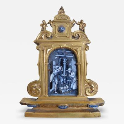 Early 18th Century Limoges Gilt Bronze Travel Altarpiece