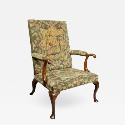 Early 18th Century Queen Anne Walnut and Needlepoint Upholstered Armchair