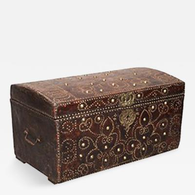 Early 18th Century Studded Leather Traveling Chest