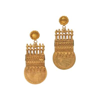 Early 1900s Etruscan Design 22 Karat Gold Coin Earrings