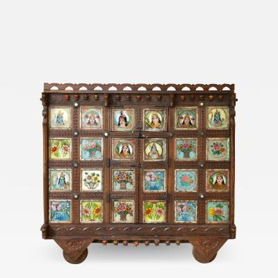 Early 1900s back painted dowry chest from Inidas Rajasthan or Gujarat region