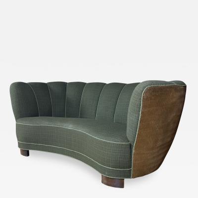 Early 1940s Danish Banana Sofa Green Wool Corduroy