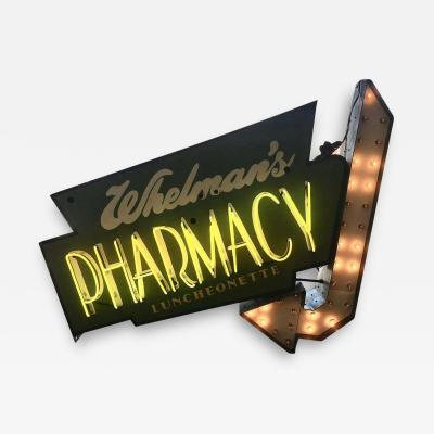 Early 1950s Lighted Neon Pharmacy Sign