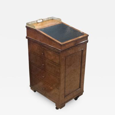 Early 19th C English Regency Burled Walnut Davenport Desk