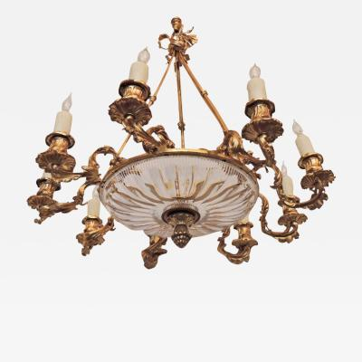 Early 19th C French R gence and Bronze Dor Chandelier