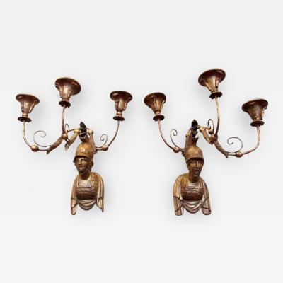 Early 19th C Italian Neoclassical Giltwood Sconces with Roman Soldier Bust