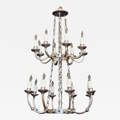Early 19th C Italian Neoclassical Silver Plated and Bronze Two Tiered Chandelier