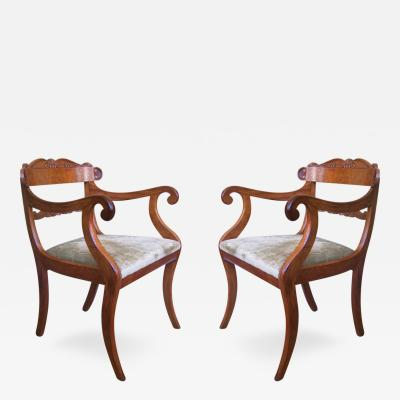 Early 19th C Pair of Regency Armchairs signed S Jamar