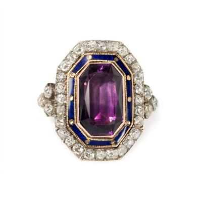 Early 19th Century Amethyst Diamond and Enamel Bishops Ring