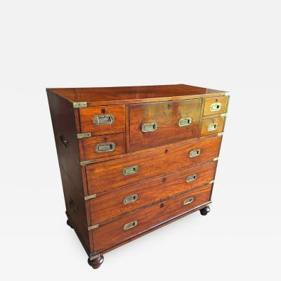 Early 19th Century Anglo Indian Mahogany Campaign Chest with Desk