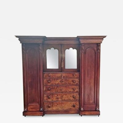 Early 19th Century British Mahogany Gothic Revival Wardrobe