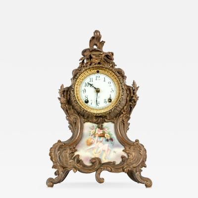 Early 19th Century Bronze Mounted Porcelain Face Clock