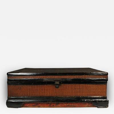 Early 19th Century Chinese Ming Woven Lacquered Trunk