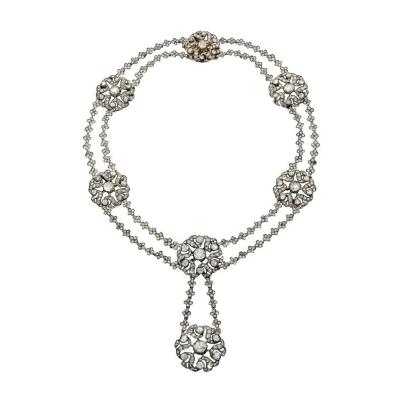 Early 19th Century Diamond Silver and Gold Necklace