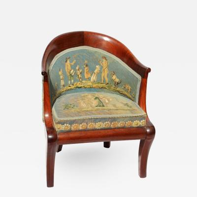 Early 19th Century Directoire Childs Chair with Aubusson Needlepoint Fabric