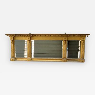 Early 19th Century English Egyptian Revival Giltwood Overmantel Mirror