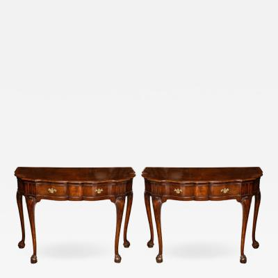 Early 19th Century English Walnut Demilune Console Tables