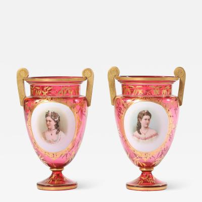 Early 19th Century Gilt Glass Pair Vases Urns