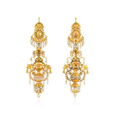 Early 19th Century Gold Filigree Citrine and Seed Pearl Chandelier Earrings