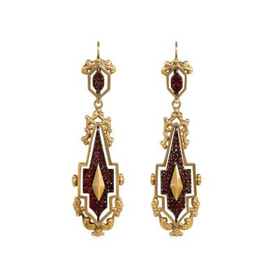 Early 19th Century Gold Garnet and Steel Day to Night Earrings