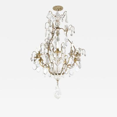 Early 19th Century Louis XV Nine Arm Rock Crystal Bronze Sculptural Chandelier