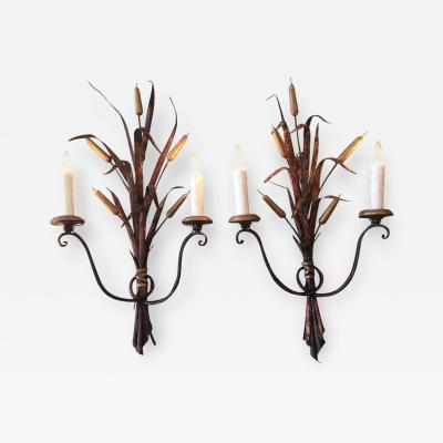 Early 19th Century Pair of Italian Tole and Cattail Sconces